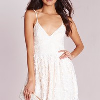 Missguided - Premium Lace Skater Dress Nude
