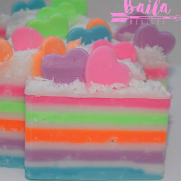 rainbow soap, cake soap, unique soap, handmade soap, novelty soap, neon soap, hearts soap,party favors,birthday cake,rainbow hearts,glycerin