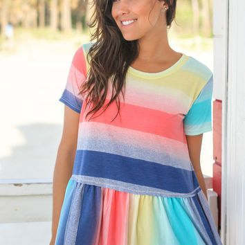 Rainbow Short Sleeve Babydoll Top