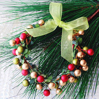 Holiday Berries Mini Wreath, Mixed Metallic Berry Candle Wreath, Christmas Wreath Ornament, Berry Ornament