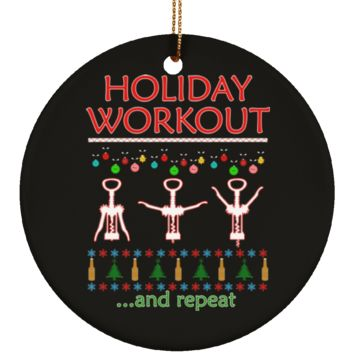Holiday Workout Drink and Repeat Wine Lovers Christmas Tree Ornament, 3-Inches, Black