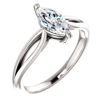 0.75 Ct Marquise Diamond Engagement Ring 14k White Gold