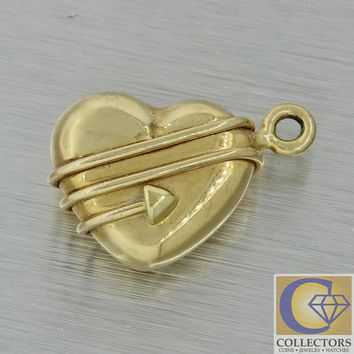 1994 Vintage Tiffany & Co. 18k Yellow Gold Heart Arrow Necklace Charm Pendant