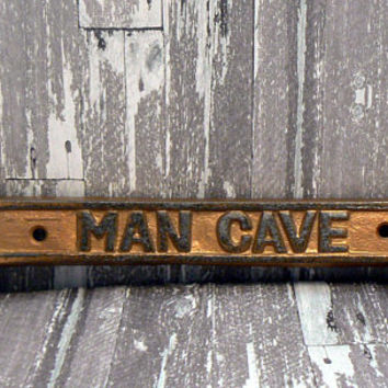 Man Cave Sign Wrench Wall Art Decor Gold Cast Iron Distressed Mancave Garage Tool Room Decor Father Dad Gift
