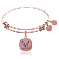 Expandable Bangle in Pink Tone Brass with Enamel U.S. Air Force Symbol
