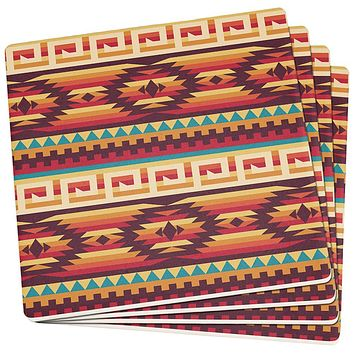 Native American Pattern Set of 4 Square Sandstone Coasters