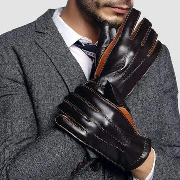 Genuine Leather Gloves Male Two Colors Patchwork Men Sheepskin Gloves Winter Cashmere Lined Driving Glove 2805