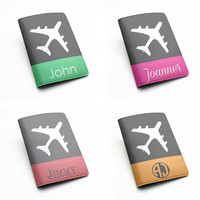 Travel holiday plane airplane custom name personalized PU Leather Passport Holder Case Travel Wallet Cover, monogram initial (i02)