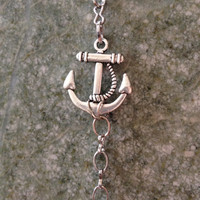 Nautical Antique Silver Anchor Charm Bracelet Handmade