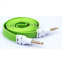 niceeshop(TM) 1m Green 3.5mm Male to Male Flat Noodle Audio Extension AUX Cable Adapter for Pc Phone Car IPods