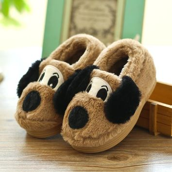 Cute Cartoon Winter Children Slippers Boys Girls Slippers Thick Warm Non-Slip Home Slippers Baby Boy and Girls Cotton Shoes Kids