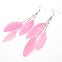 Pink Feather Earring Dangle Drop Earring, Birthday Gifts, Bridal Jewelry, Wedding Jewelry, Party Accessory, Fashion Jewelry 11030891