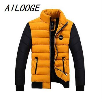 AILOOGE New 2017 Brand Winter Jacket Men Thick Warm Down Jacket Mens Winter Outerwear Zippers Down Parka Mens Solid Puffer Coat