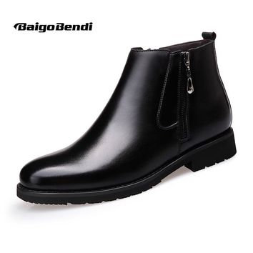 US6-10 Fashion Leather Mens Pointy Toe Oxford Zipper Casual Ankle Boots Chukkas Warm Fur Winter Shoes