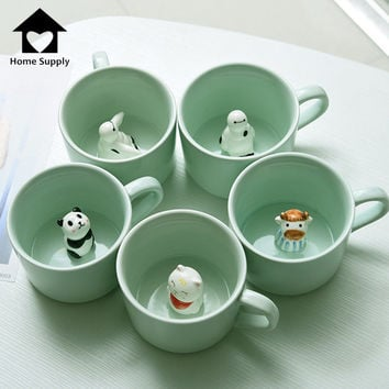 Creative 3D Ceramic Cartoon Animal Mug Panda Baymax Coffee Tea Mug Cup Zakka Mug Travle Drink Water Mug K0051