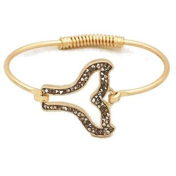 Whale Tail Open Wire Bangle Bracelet