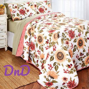3 Pce Quilt Set Sunflower Floral Print Reversible Yellow Coral & White Bedding