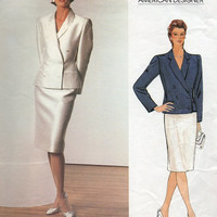 Bill Blass Vogue American Designer 80s Sewing Pattern Double Breasted Blazer Jacket Straight Fitted Skirt