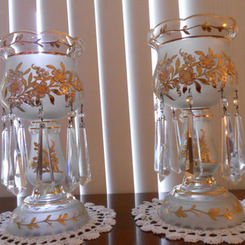 """Mantle lusters pair 14"""" tall  -- lustres wedding table centerpiece -- mid century decor, gold gilding --  Inventory Reduction Sale"""