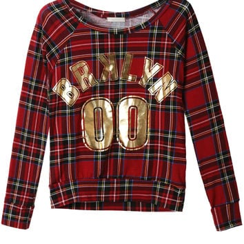 Womens Casual Long Sleeve Checked Knit Top with Gold Design