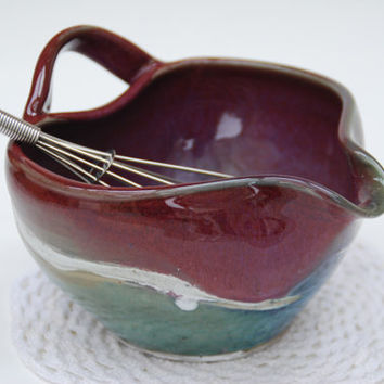 handmade batter bowl, mixing bowl, purple red and green, stoneware, rustic, coastal, minimalist, modern.