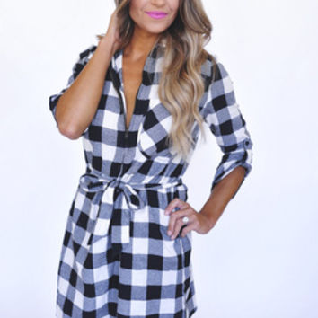 Tie Waist Plaid Tunic- White