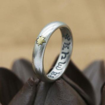 Genuine 925 Sterling Silver For Men And Women Lovers Six Words Engraved Star Vintage Punk Thai Silver Mantra Ring