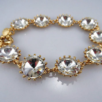 J Crew Style Inspired Vintage Clear Crystal Bracelet Wedding Party Bridal Statement gold Bracelet girls bracelet/ Fashion Trends