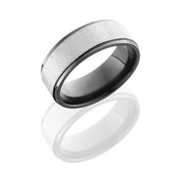 Black Zirconium 8mm Wide Silver Cross Satin Wedding Band with Grooved Edges