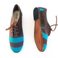 Tanned Teal Oxford Shoes
