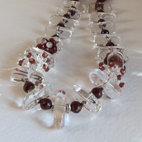 Red Garnets and Clear Quartz Necklace with Sterling Silver, Statteam