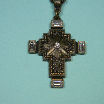 Maltese Cross Necklace or Choker, 1928 Company, Bronze Finish,  Clear Accents