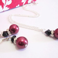 Red Pearl Necklace, Pearl Pendant Necklace, Bridesmaid Necklace, Winter Wedding Jewelry Set, Cranberry/Burgundy, Gift for her