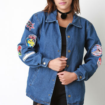 Denim Patch Button Up Jacket