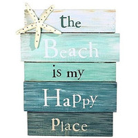 Beach is My Happy Place - Aqua marine Plankboard with Starfish Decorative Sign - 12-in x 9-in