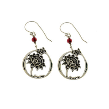 William Morris Hyacinth Sterling Silver Garnet Drop Earring