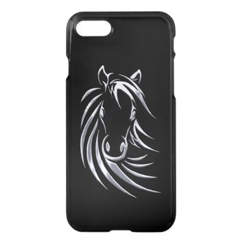 Silver Horse Head Black iPhone 7 iPhone 7 Case