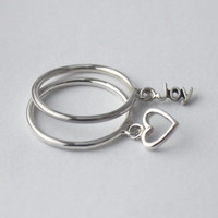 Set of 2 , Poetry Silver charm Rings... Sterling silver Stacking rings with loose word charms