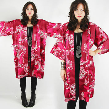 vtg 70s boho hippie pink ETHNIC asian abstract FLORAL op art print slouchy draped oversized KIMONO sleeve festival cape jacket S M L