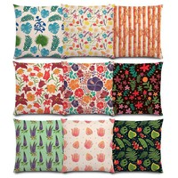 Cute Little Flowers Tropical Leaves Sweet Spring Lavender Bamboo Cactus Lovely Floral Pattern Pumpkin Cushion Cover Pillow Case