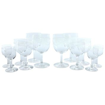 Pre-owned Vintage Etched Wine Glass Set - Set of 12