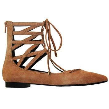 ONETOW Jeffrey Campbell Atrium - Camel Suede Cage Lace-Up Shoe