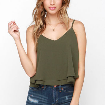 Glamorous Tiers to Us Olive Green Crop Top
