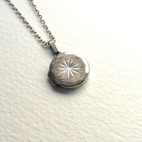 Vintage round locket necklace, silver star locket, hallmarked Birmingham 1976