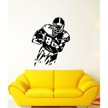 Vinyl Wall Decal American Football Game Sport Player Ball Stickers (3292ig)