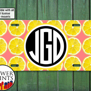 Pink Lemon Slice Pop Art Pattern Cute Fruit Summer Initials Accessory For Front License Plate Car Tag One Size Fits All Vehicle Custom