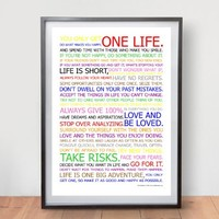Life Manifesto Poster - In Color - Motivational Quote Wall Art Picture Print - Size A2 (420 X 594mm)
