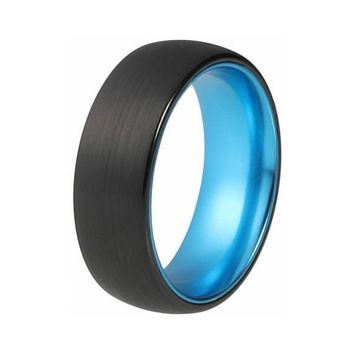Mens Aqua Blue Tungsten Wedding Ring Brushed Domed Black - 8mm