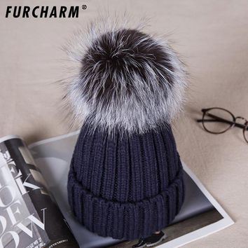 Women Real Fur Pom Pom Hat Female Winter Wool Autumn Knitted Beanies Fur Ball Cap Ladies Cashmere  Silver fox Fur Pompom Hat