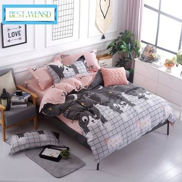 BEST.WENSD Blue pink gray cartoon-Simple size 4pcs Bedding sets Cotton duvet cover sets Double-Single-kids bedspread bedclothes